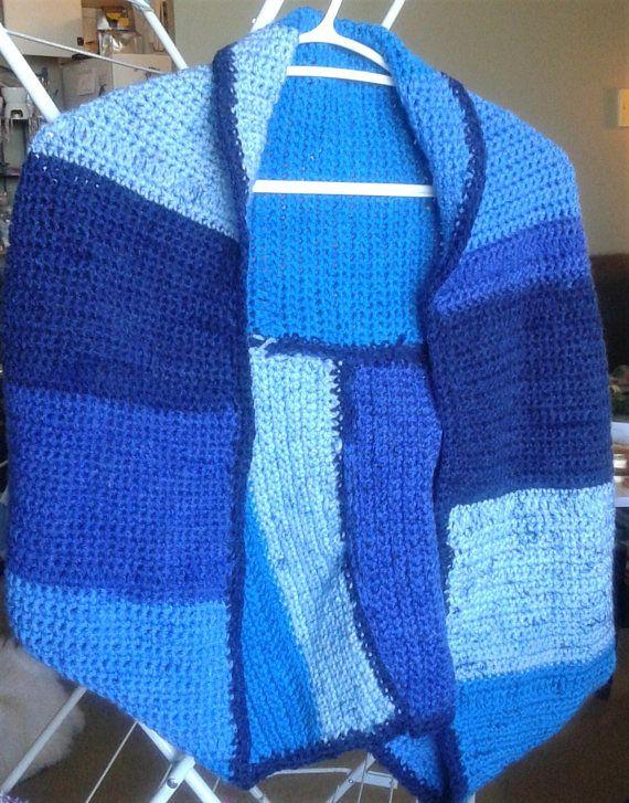 Blue colour block crochet shrug jacket