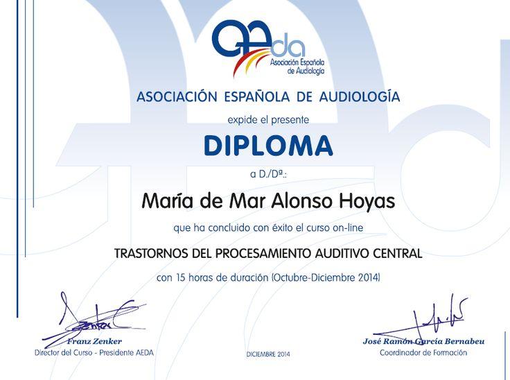 Mi CV: Diploma Trastornos del Procesamiento Auditivo Cent...