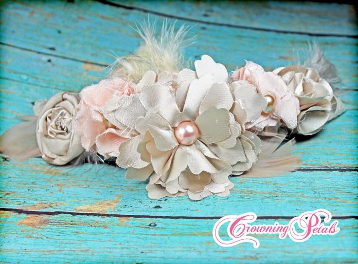 Cream, Peach Headband, Hair Accessories, Hair Piece, Hair Clip, Fabric Flowers, Brooch Pin, Baby Girl Hair Bow. $22.50, via Etsy.