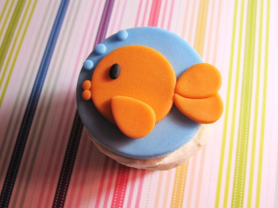 Goldfish Fondant Cupcake Topper For Fish Themed Under The