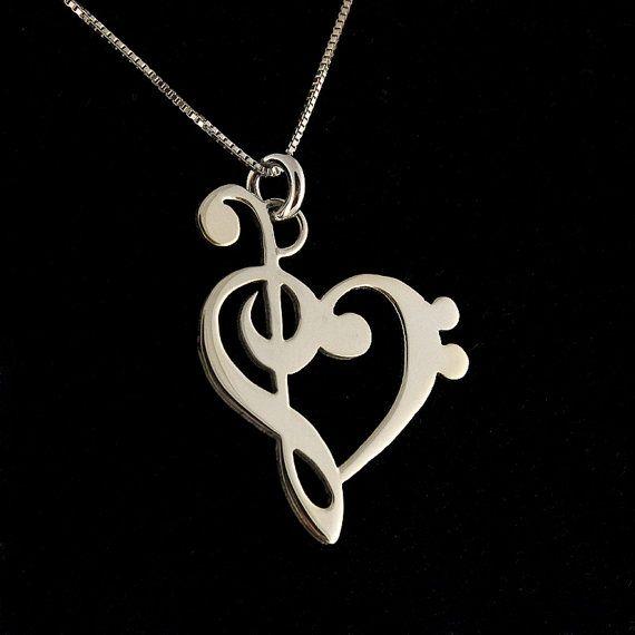 musica nota collana G clef bass clef cuore di Silversmith925