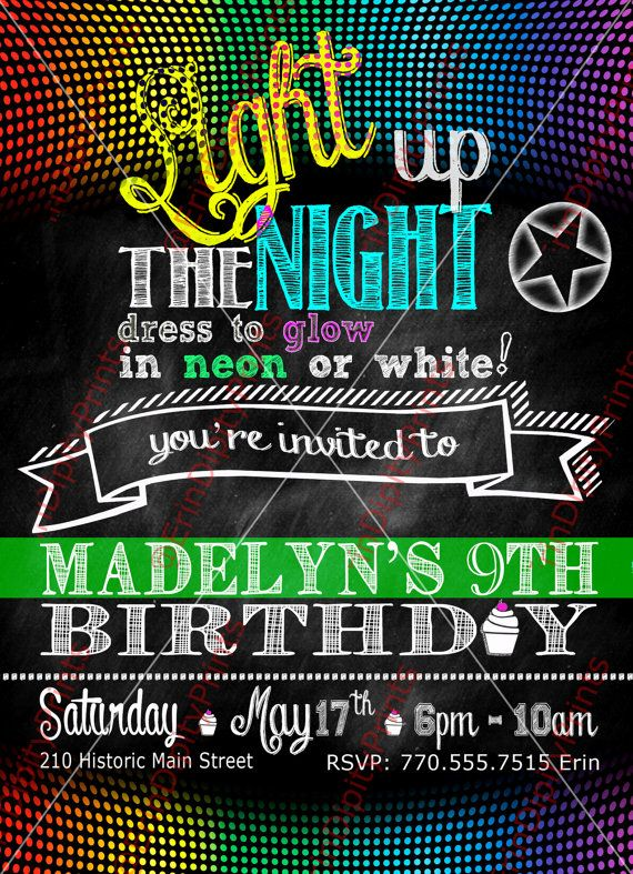Neon Glow Birthday Party Invitation Digital by ErinDipityPrints, $14.50