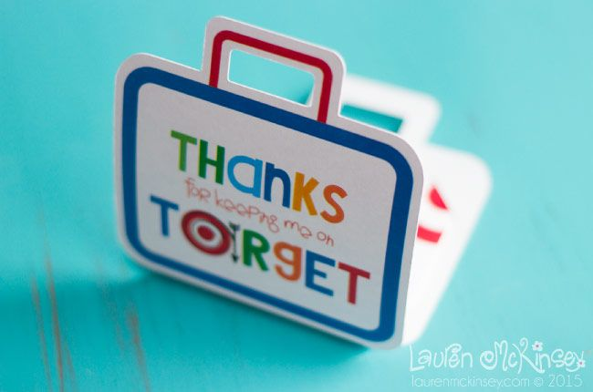 """So cute for a Target gift card - """"thanks for keeping me on target"""" Valentine's Day gift card holder for a teacher. Printable"""