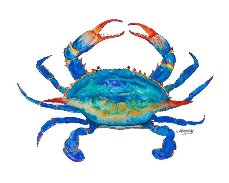 blue crab painting, blue crab print by coastal artist Alexandra Nicole Newton