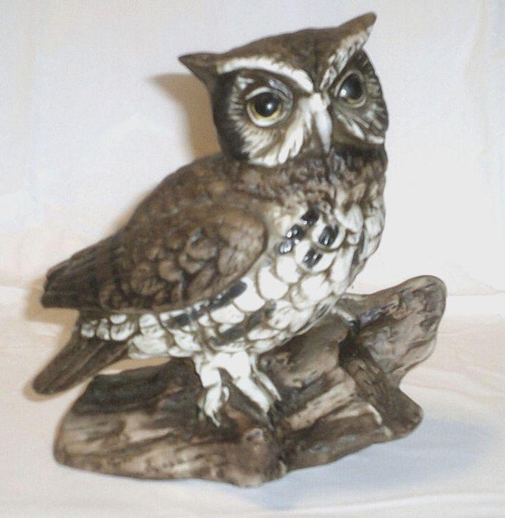 Vintage HOMCO Owl on Log Figurine