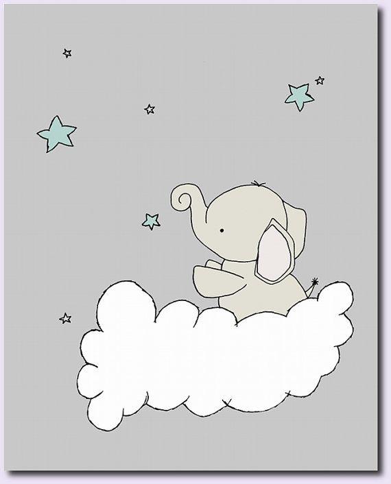 Crèche de l'éléphant ArtTurquoise et gris par SweetMelodyDesigns