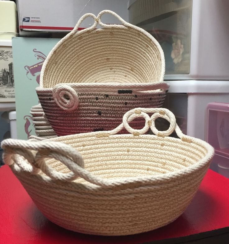 Coiled rope bowls with fancy handles, rope art by Andrea