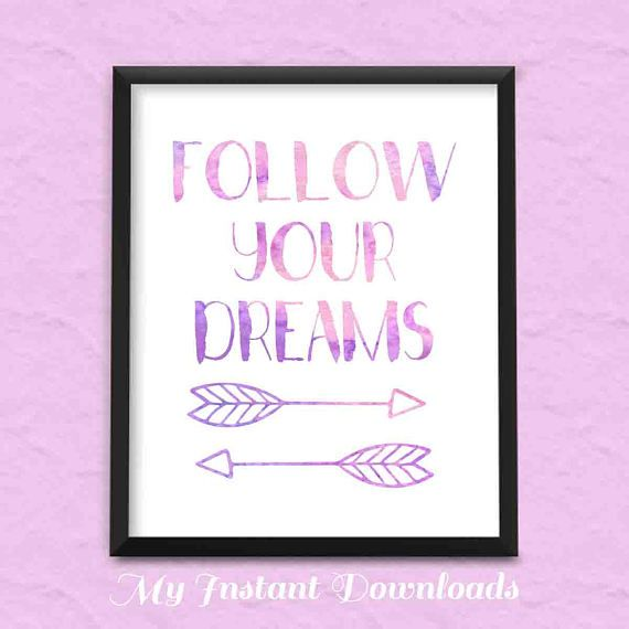 Follow Your Dreams, Minimalist Quote Print, Tribal Arrow, Inspirational Art, Motivational Print, Arrow Art  Modern Home Decor, Dream Print