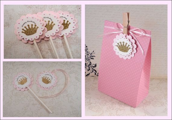 Check out Gold and Pink Party Package, Glitter Crown Cupcake Topper, Goody Bag, Gift Tags, Party Kit, Birthday Pack, Princess Party, Gold Tiara Set on angelsofheaven