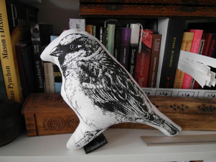 Sparrow handmade screenprinted plushie  http://waldziograf.pl/en/dolls-and-plushies/62-house-sparrow-plushie.html
