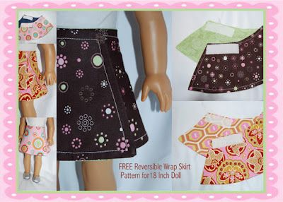 """reversible wrap skirt for 18"""" dolls; this page has lots of cute ideas and patterns including tote bags, bracelets, garments and props for dolls"""