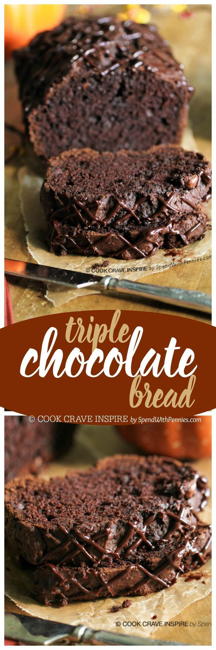 Triple Chocolate Bread! A rich chocolatey quick bread with a secret ingredient to keep it extra moist! This loaf contains dessert and breakfast all in one!