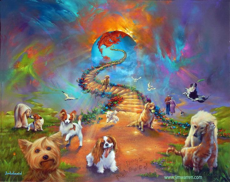 All Dogs go to heaven 4 Cross paintings 8x10 art prints