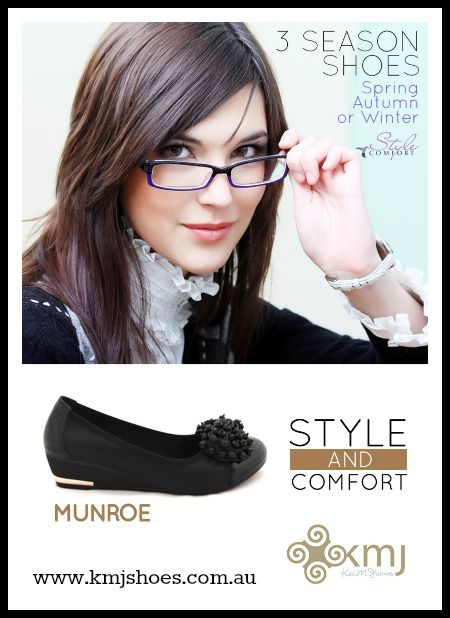 Need practical yet beautiful shoes for work or everyday wear? Munroe is part of KMJ's Style Comfort range and are an wardrobe essential for busy women and mums! An small wedge and comfortable inner makes these perfect to wear all day. Available for retailers at www.kmjshoes.com.au