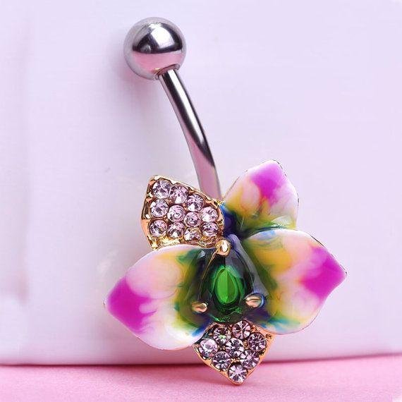 Orchid Flower Belly Bar Navel Piercing 18K Gold by BellyBarsUK