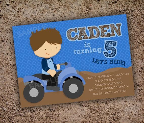 ATV Four Wheeler Invitation for Birthday Party - Digital Printable File - Brown or Blonde Hair. $9.99, via Etsy.