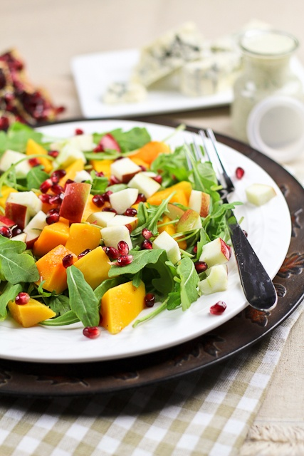 Squash, Blue Cheese Dressing, Protein Salads, Food Ideas, Apple Salad ...