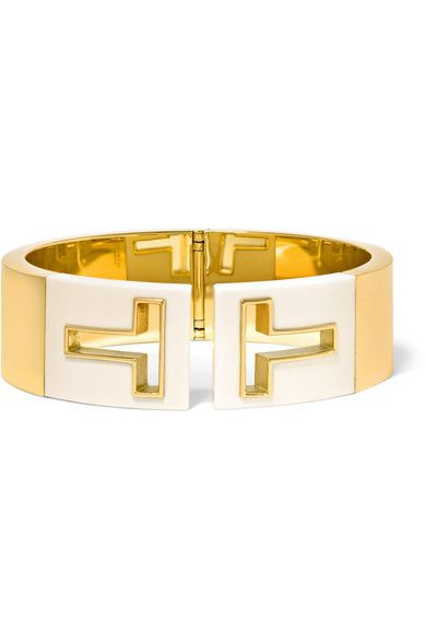 Tiffany & Co - T Cutout 18-karat Gold And Ceramic Cuff - M