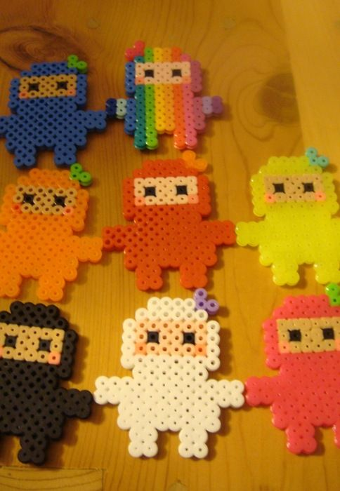 Perler ninjas but could make anything and then insert into art project