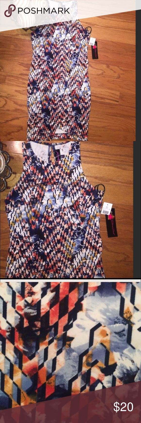 🌺NWT BODYCON DRESS by Glam Doll🌺 This is a printed Bodycon dress. Pulls overhead with one button in back at neck. Asymmetric, flattering with lots of give, however if your larger than a medium it will not fall right. Colors include Ivy, blue, coral according to tag. 95% polyester 5% spandex. 32 1/2 inches at shortest part and 34 1/2 inches at the longest part of the skirt. Pair with Jean blazer and some boots you ready for fall... Dresses