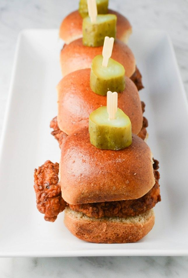 Nashville Hot Chicken Sliders: 18 Easy Recipes for Your Kentucky Derby Party via Brit + Co