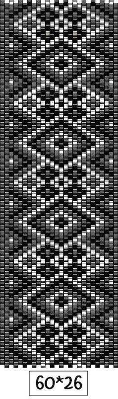 Black and white peyote stitch bracelet pattern