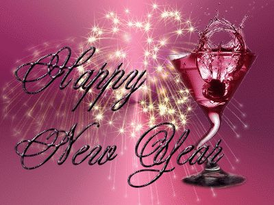 new year 2016 animated cards pink glass