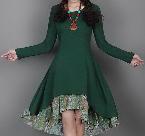 Green Moon Linen Dress by zeniche on Etsy, $66.00