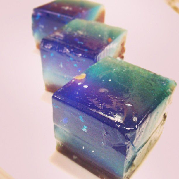 Japanese Purple Blue Green Galaxy Wagashi-Jello Cubes