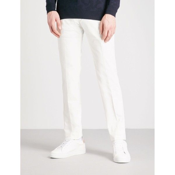 Armani Collezioni Slim-fit tapered cotton-twill chinos (€150) ❤ liked on Polyvore featuring men's fashion, men's clothing, men's pants, men's casual pants, mens slim fit pants, mens tapered pants, mens adjustable waist pants, mens slim pants and mens slim fit chino pants