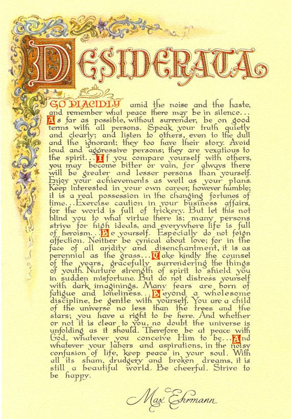 Desiderata Poem 11 X 17 Poster Florentine by DesiderataSuperstore, $7.35