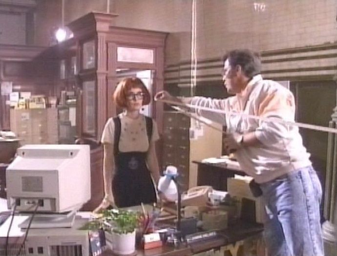 Annie Potts as Janine Melnitz behind the scenes on #Ghostbusters 2 (1989).