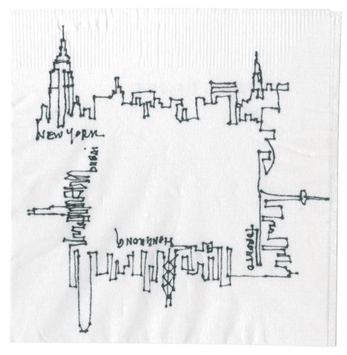 Carol HsiumgCocktail Napkin Sketch Contest 2011 - New York/Toronto/Hong Kong/ Berlin skyline