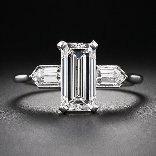 2.05 Carat (G-VS2) Emerald-Cut Diamond Art Deco Engagement Ring - 10-1-6112 - Lang Antiques