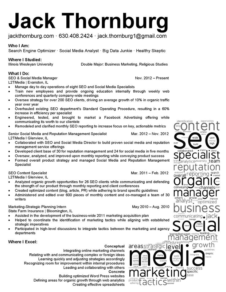 27 best Resumes images on Pinterest Resume templates, Career and - social media resume examples