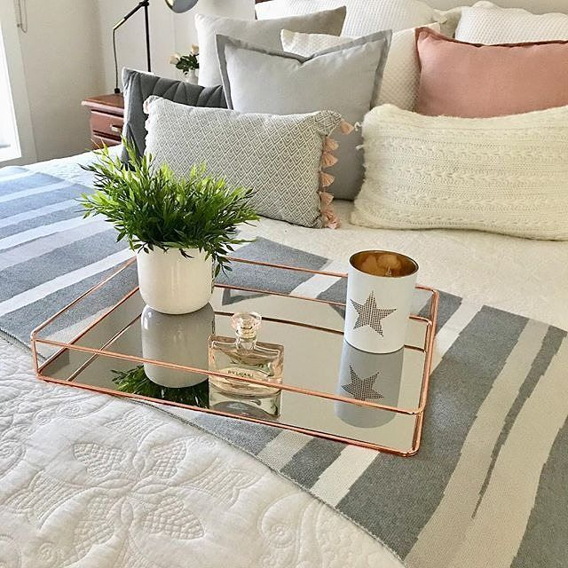 $12 Rose Gold Serving Tray. Styled by @myhomsweethome