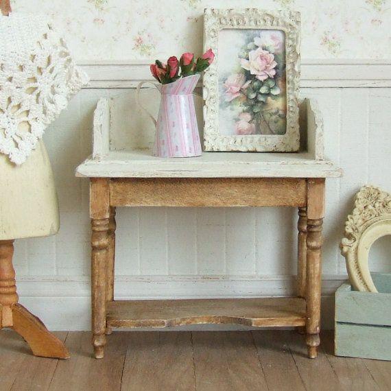 casa delle bambole in miniatura lavabo in legno lavare stand mobili marrone arredo bagno country style cottage shabby chic 112th scala