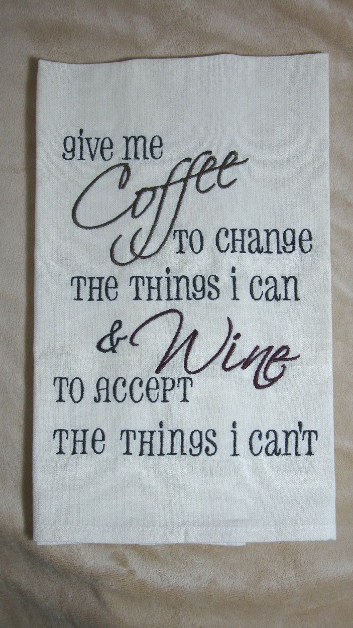 Coffee or Wine - Tea Towel - Kitchen Towel - Dish Towel - Home Decor - READY TO SHIP - Cream Tea Towel - pinned by pin4etsy.com