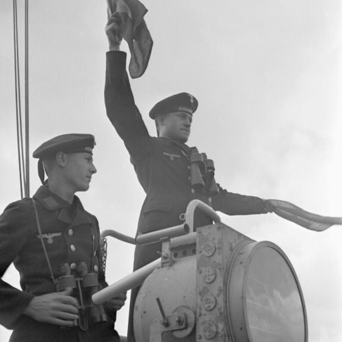 Flag semaphore on deck of a torpedo boat. Germany, 1940s.