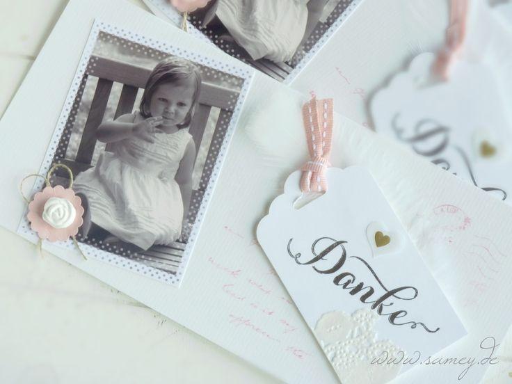 Dankeskarte zur Taufe, Taufe, Babtism, Auftragsarbeit, Hochzeitskarten, Individuelle Papeterie, Sandra Kolb, www.samey.de, www.samey-atelierfarbatil.blogspot.de, Stampin´ UP! Demonstratorin,