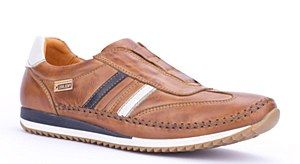 Pikolinos mens shoes M2A-6022 Lynmouth. Mens semi-formal lightweight casual trainer. Leather Upper. Colour: Brandy.