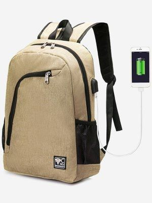 USB Charging Port Side Pockets Backpack - Khaki