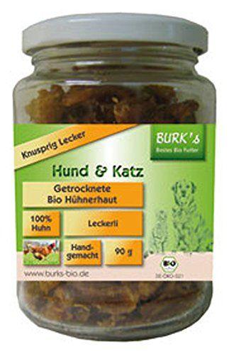 Aus der Kategorie Probiotika  gibt es, zum Preis von EUR 5,23  Getrocknete Bio-Hühnerhaut 90g BURK's<br>Hund - BURK's getrocknete Bio-Hühnerhaut ist ein handgemachtes Leckerli für Ihren Hund und Ihre Katze. Knusprig Lecker getrocknet, aus der Haut von Hühnern die bei der Verarbeitung in einer Bio-Feinkost-Manufaktur anfallen - Zusammensetzung - Hühnerhaut getrocknet aus kontrolliert biologischem Anbau - Analyse - Rohprotein: 31,7%, Rohfett: 29,7%, Rohfaser: %, Rohasche: %, Feuchtigkeit…