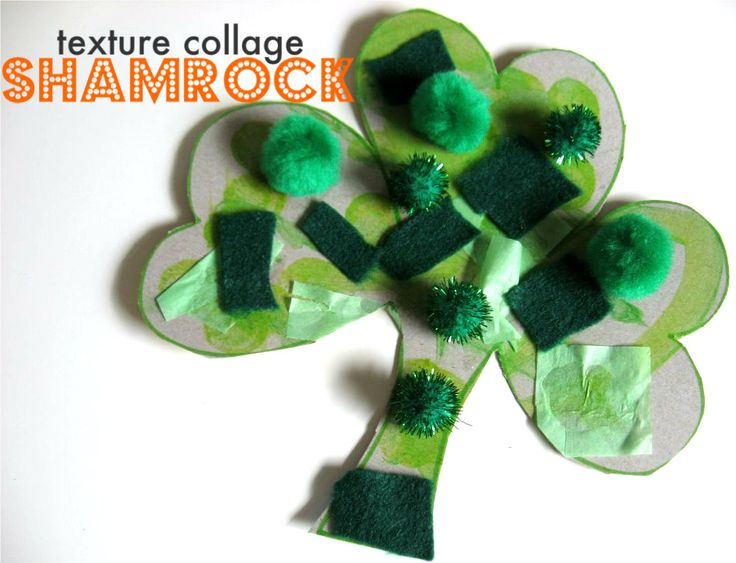 Toddler Friendly Shamrock Collage - Help kids learn colors and celebrate St. Patrick's Day. This kids' craft is great for an great afternoon activity.