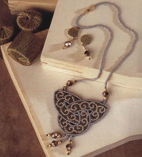 Celtic pattern bead embroidery herringbone rope