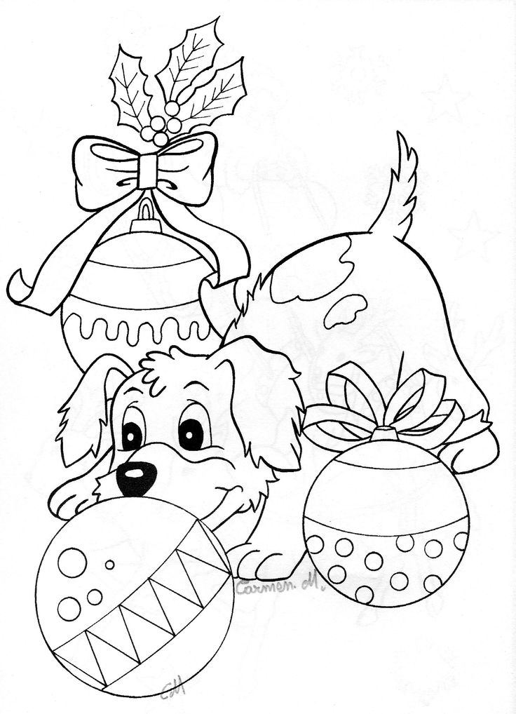 coloring pages dogs christmas - photo#23