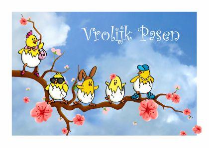 Vrolijke paaskaart met kekke kuikens op een bloesemtak - happy eastercard with funny chicks on a blossom branch. Kaartje2go - Creagaat Pasen Pinkster