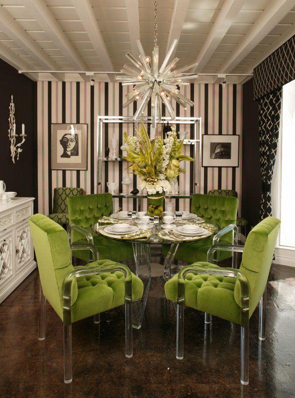 Green velvet covered lucite dining chairs