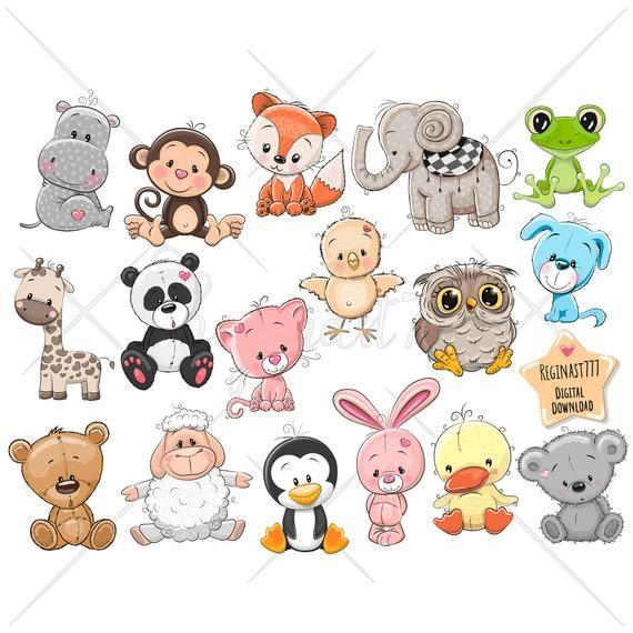 Cute Cartoon Animals Clip Art Set Of 17 300 Png Files Etsy Baby Animal Drawings Clip Art Cartoon Animals
