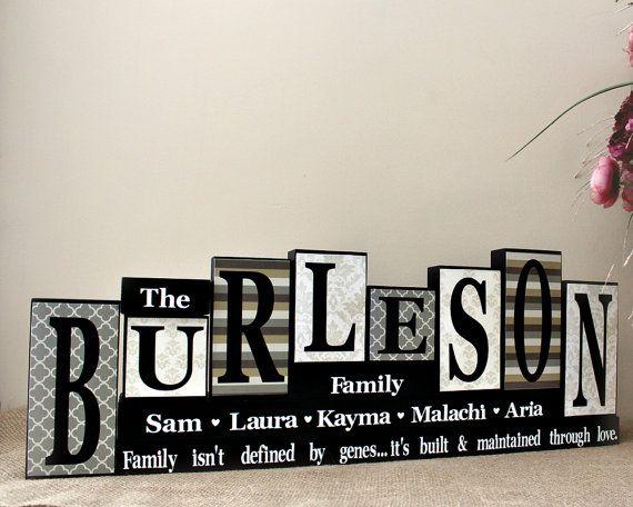 Personalized Family Name Letter Blocks - Family Celebrations - Custom Name Wooden Mantle Sign - Living Room Decor - 8 Letters Last Name Sign